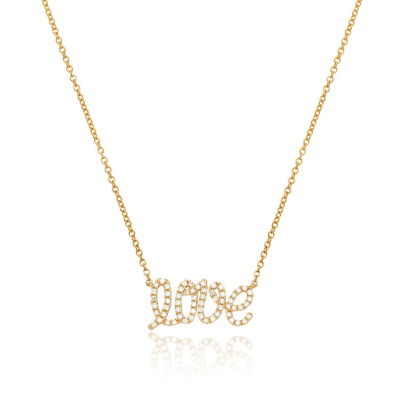 Love pendant in yellow gold and white diamonds from NOA mini