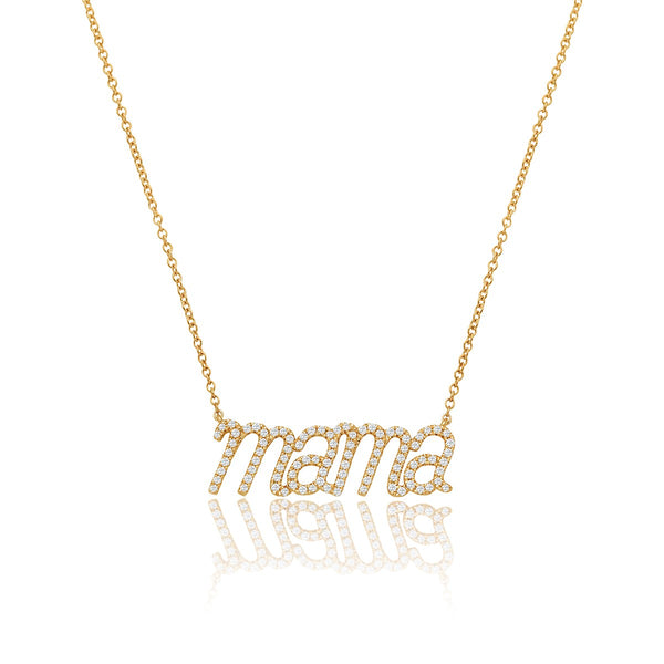 NOA mini yellow gold and diamond Mama necklace