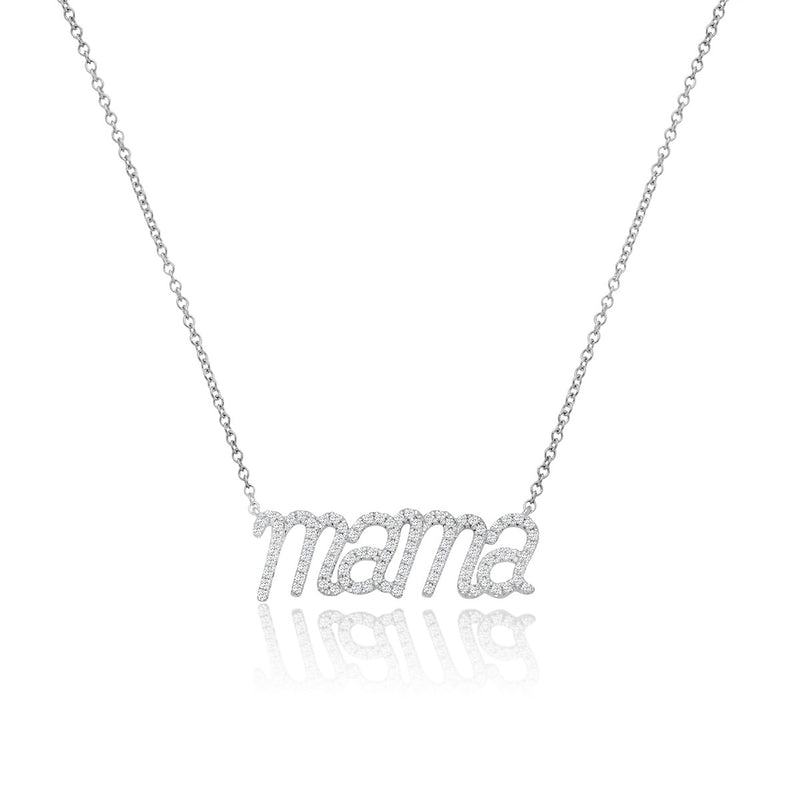 NOA mini Mama necklace in white gold and diamonds