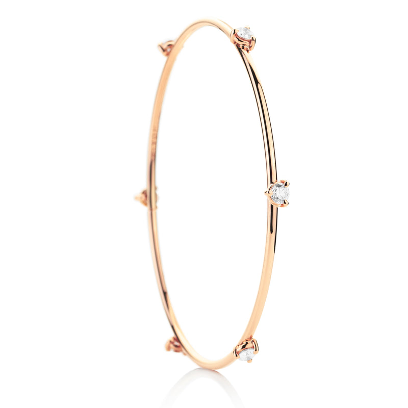d'Oro 18 karat rose gold diamond drop bangle with flexible gold technology
