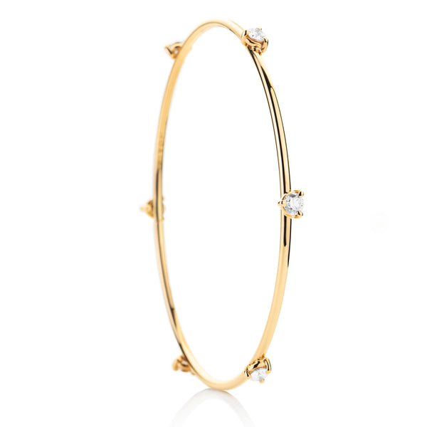 d'oro Diamond Drop Bangle in 18 karat Yellow Gold