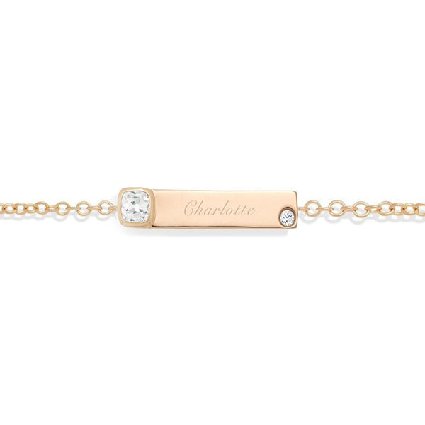 NOA mini personalised diamond name bracelet in rose gold