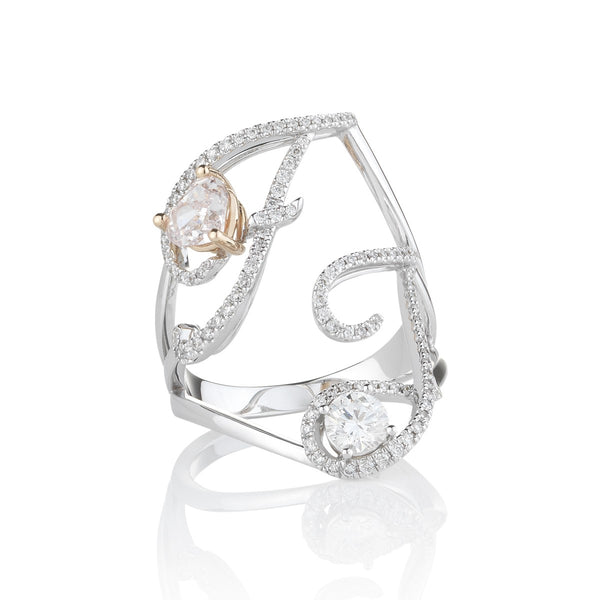 Personalised diamond initial Toi et Moi Ring from NOA fine jewellery