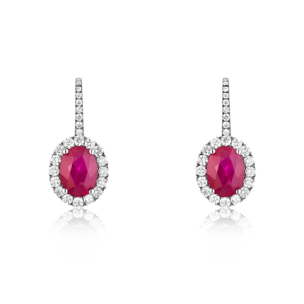 NOA Ruby and Diamond Cluster Earrings on 18kt White Gold