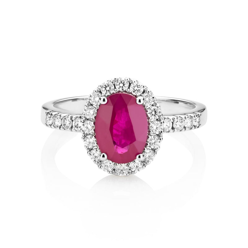 NOA Ruby and Diamond Cluster Ring on 18kt white gold