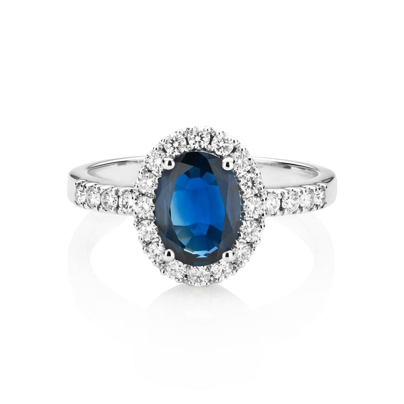 NOA Blue Sapphire and Diamond Cluster Ring on 18kt white gold