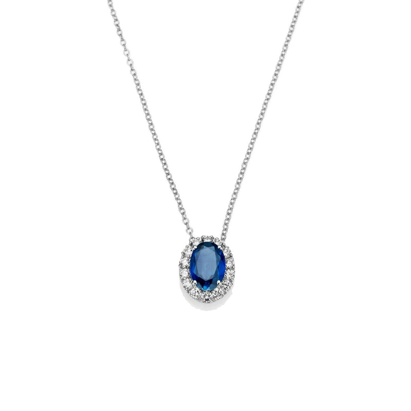 NOA Blue Sapphire and Diamond Cluster Pendant in 18kt White gold
