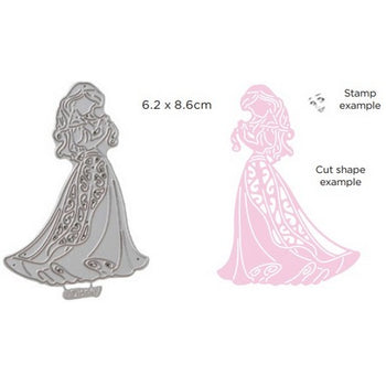 Disney - Cutting Dies - Princesses Demure Ariel With Stamp