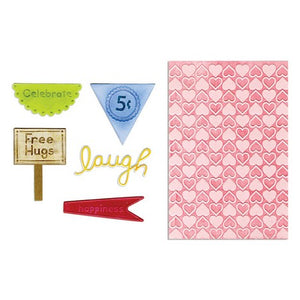 Sizzix Framelits Die Set 5PK w/Textured Impressions - Happy Hearts Set