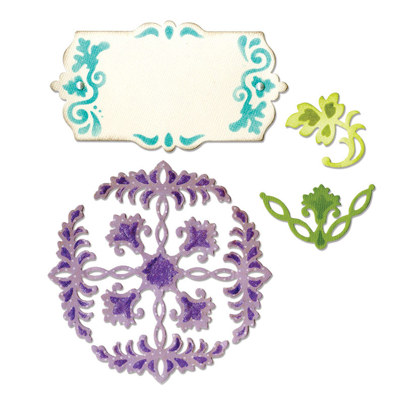 Sizzix Thinlits Die Set 4PK - Ornate Flowers & Tag