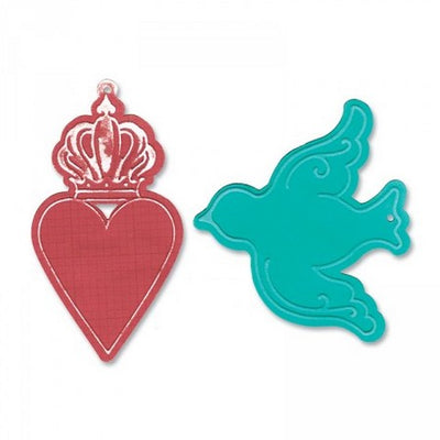 Sizzix Bigz Die w/Bonus Textured Impressions - Heart Crown & Bird Tags