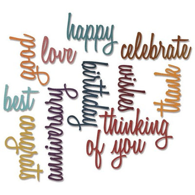 Sizzix - Sizzlits - Tim Holtz - Celebration Words: Script