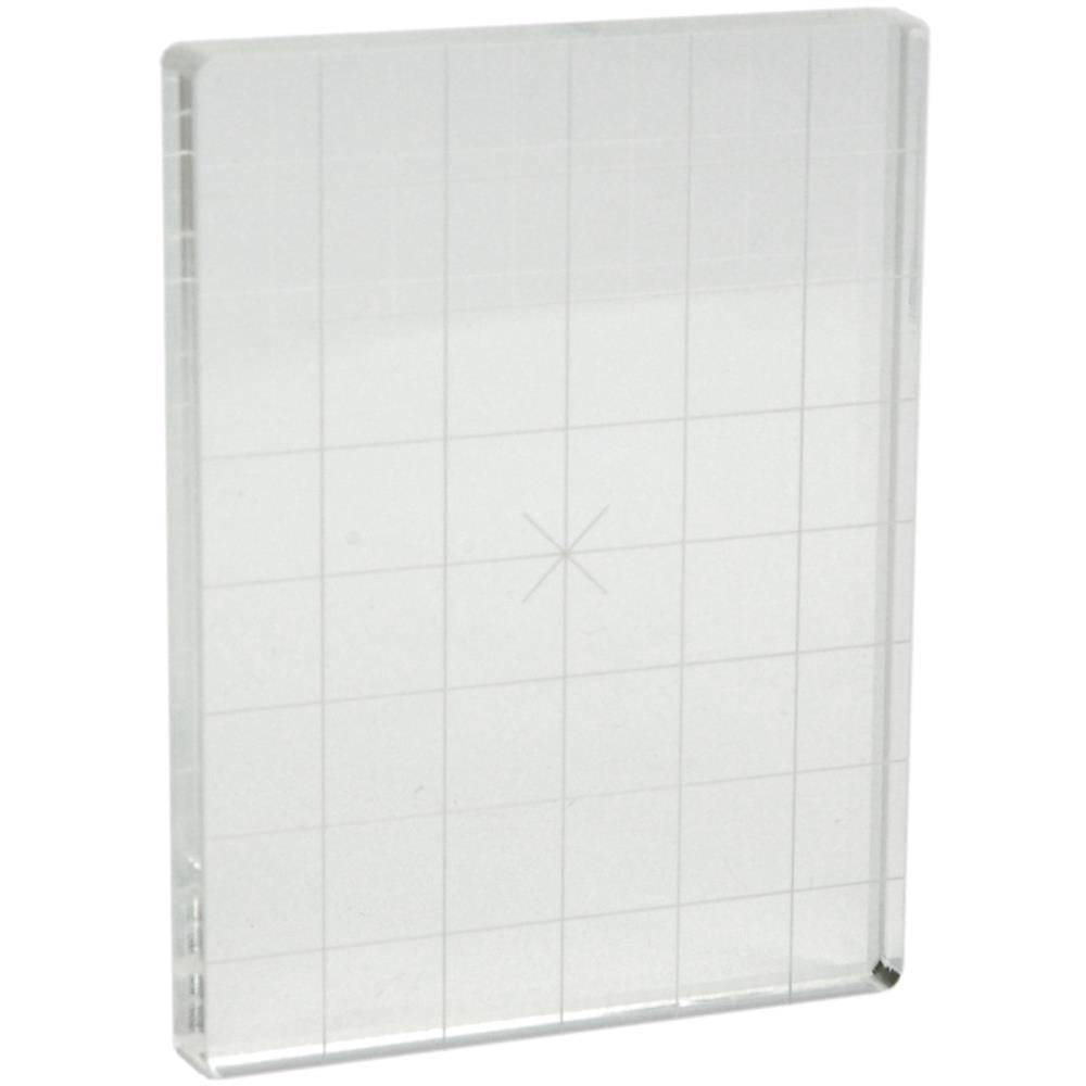 "Acrylic Stamp Block W/Alignment Grid - 3"" x 4"" x 0.5"""