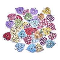 Wooden Buttons - Colorful Leaves - 10pcs