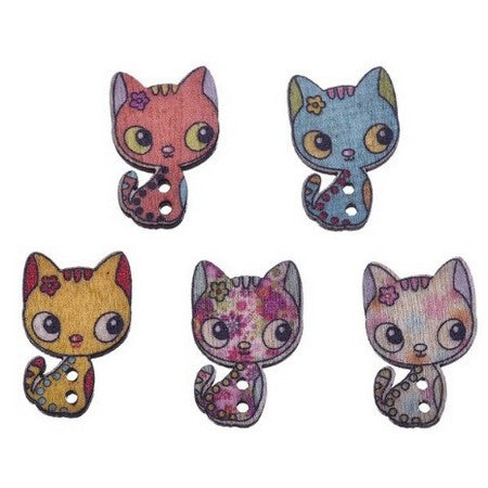 Wooden Buttons - Cool Cat - 10pcs