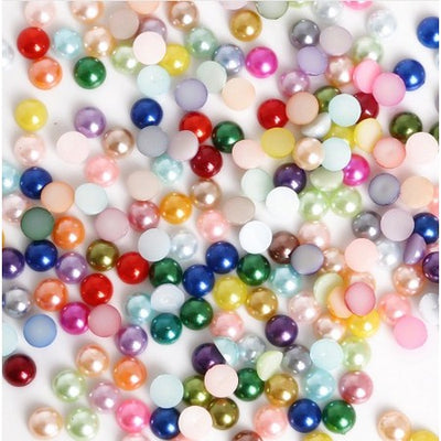 Half Dome Glue On Beads - Multicolor - 200 pcs/8mm
