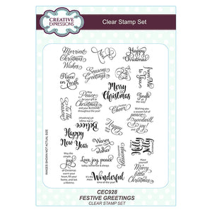 Sue Wilson - Stamp -  Festive Greetings A5 Clear Stamp Set