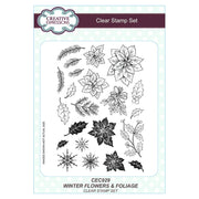 Sue Wilson - Stamp -  Wintery Flowers and Foliage A5 Clear Stamp Set
