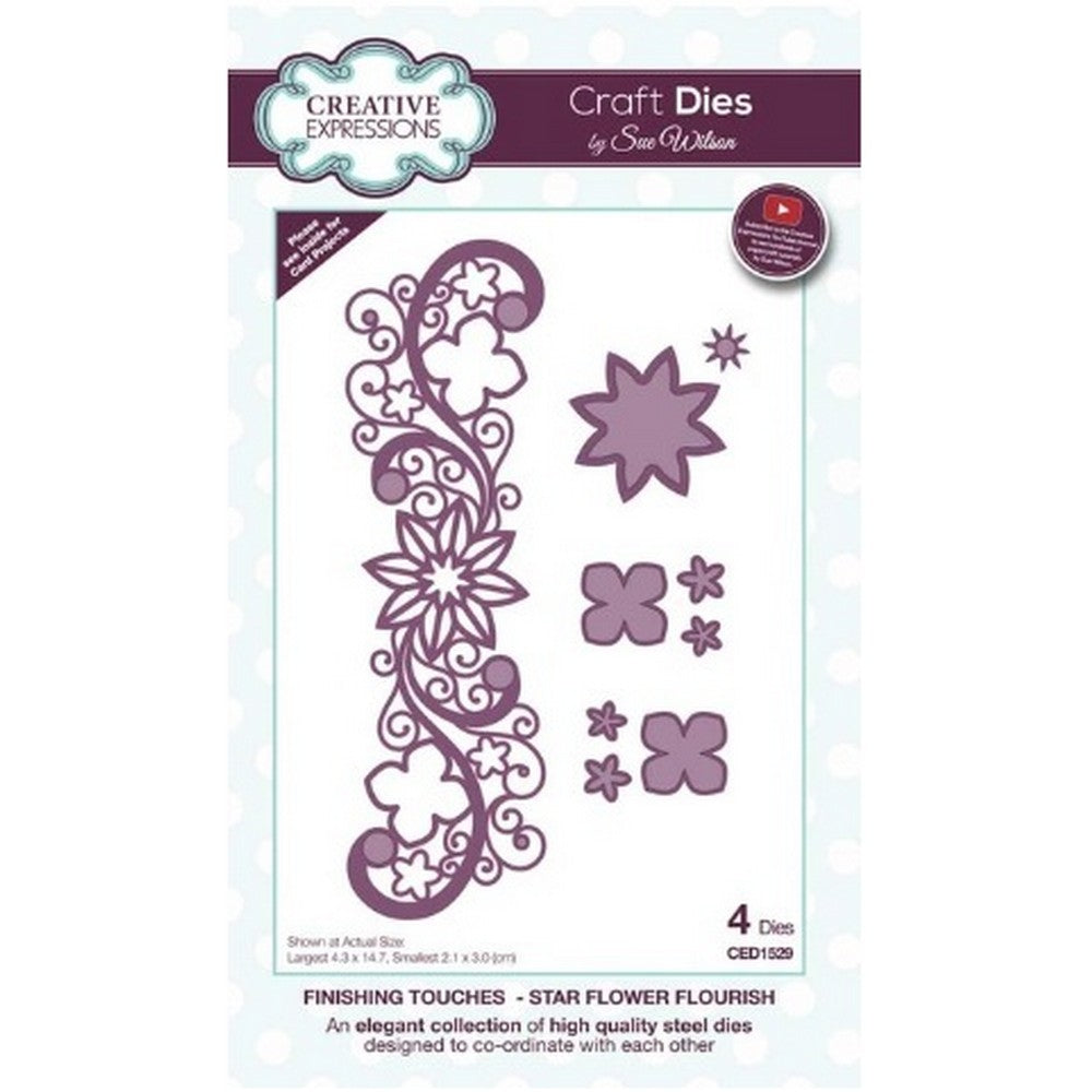 Sue Wilson Designs - Dies - Finishing Touches Collection - Star Flower Flourish (Ships April 17)