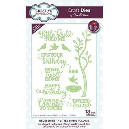 Sue Wilson Designs - Necessities Collection  - A Little Birdie Told Me