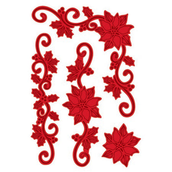 Sue Wilson Designs - Festive Collection -  Poinsettia Flourish & Corner