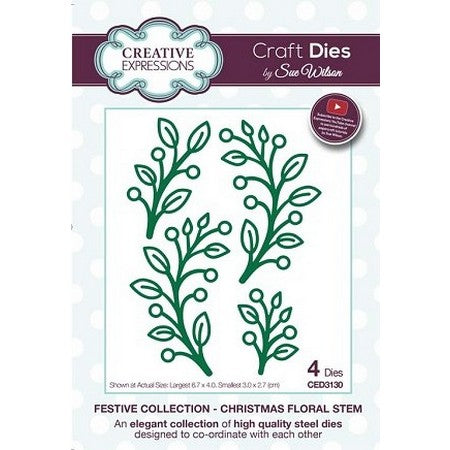 Sue Wilson Designs - Festive Collection - Christmas Floral Stem