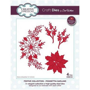 Sue Wilson Designs - Festive Collection - Poinsettia Garland