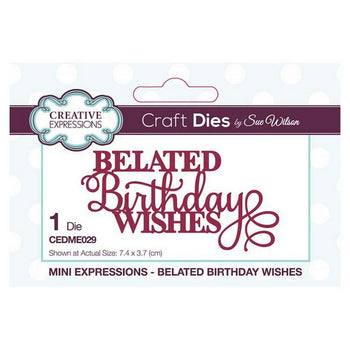 Sue Wilson Designs - Mini Sentiments Collection - Belated Birthday Wishes