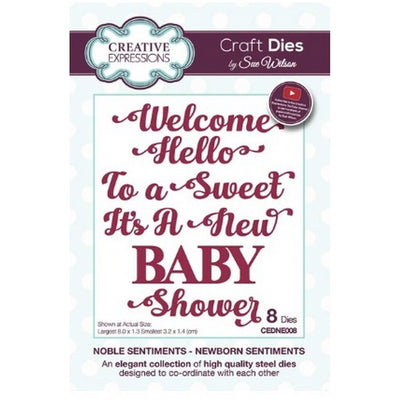 Sue Wilson Designs - Dies - Noble Sentiments Collection - New Born Sentiments (Ships April 17)
