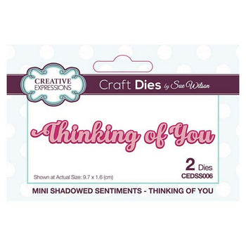 Sue Wilson Designs - Mini Shadowed Sentiments -Thinking of You