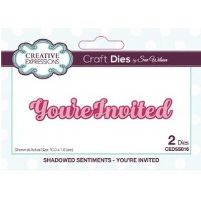 Sue Wilson Designs - Dies - Shadowed Sentiments Collection - You're Invited (Ships April 17)