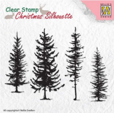 Nellie's Choice - Clear Stamp - Christmas Silhouette Pine Trees