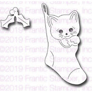 Frantic Stamper - Dies - Kitten In A Stocking