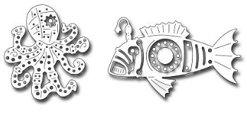 Frantic Stamper - Dies - Steampunk Octopus & Fish