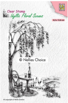 Nellie's Choice Stamps - Outside Seating With Tree