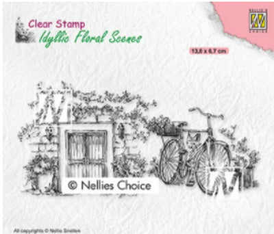 Nellie's Choice Stamps - Old Door With Bike