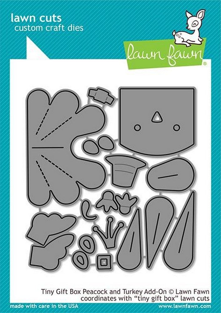Lawn Fawn - Tiny Gift Box Peacock & Turkey Add-On Dies