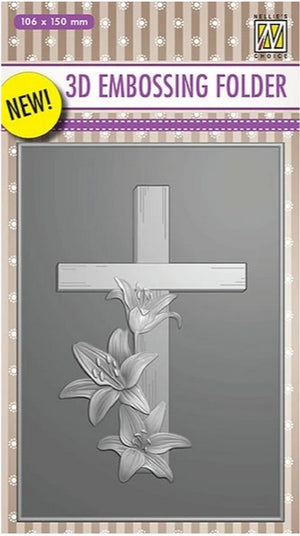 Nellie's Choice - 3D Embossing Folder - Cross With Lines