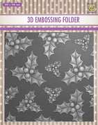 Nellie's Choice - 3D Embossing Folder - Holly Leaves & Berries