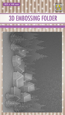 Nellie's Choice - 3D Embossing Folder - Snowy Village