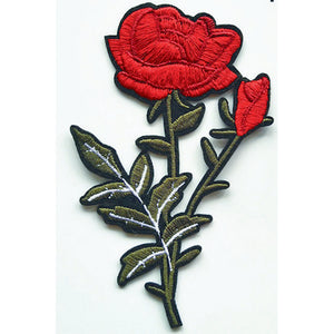 Patch / Applique - Sew / Iron - Two Roses In Stems
