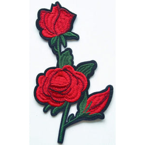 Patch / Applique - Sew / Iron - Three Roses In Stems