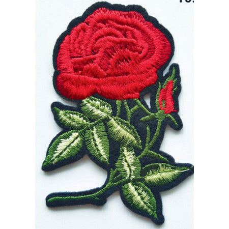 Patch / Applique - Sew / Iron - Rose With Many Leaves