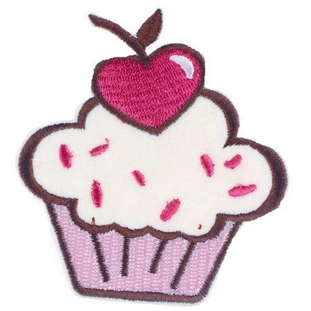 Patch / Applique - Sew / Iron - White Frosted Cupcacke