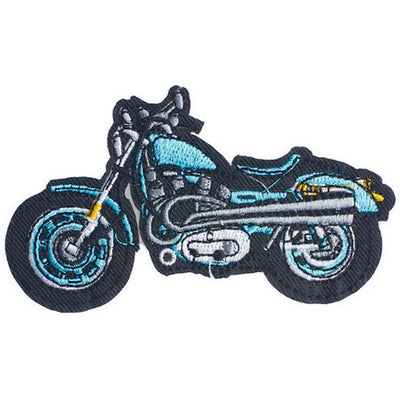 Patch / Applique - Sew / Iron - Blue Motorcyle