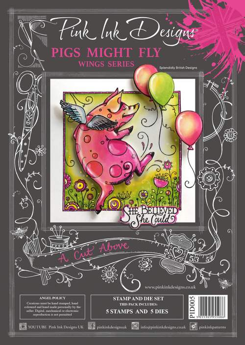 Pink Ink Designs - A Cut Above - Pigs Might Fly Stamp/Die Set