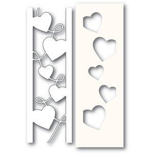 Poppystamps - Dies - Curvy Heart Side Strips & Stencil