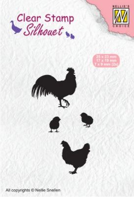 Nellie's Choice - Clear Stamp - Rooster, Hen & Chicks