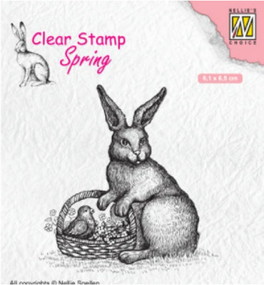 Nellie's Choice - Clear Stamp - Hare With Basket