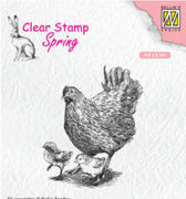 Nellie's Choice - Clear Stamp - Mother Hen With Chicks